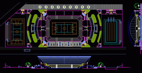 Sport Center, Stadium, Courts, Pool DWG Plan for AutoCAD