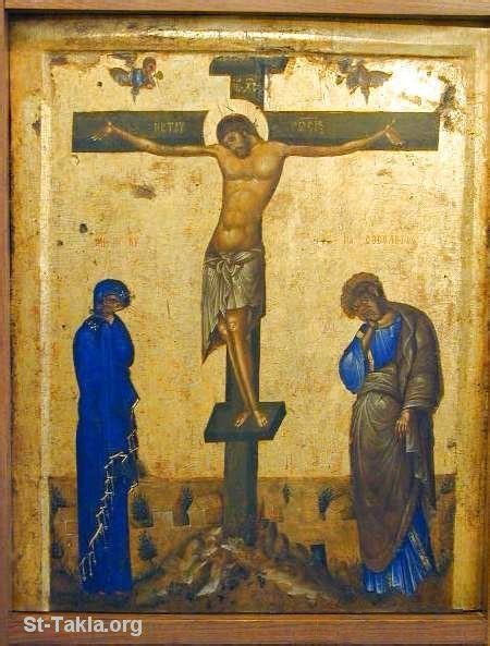 Image: Ancient Greek icon of the Crucifixion of Jesus